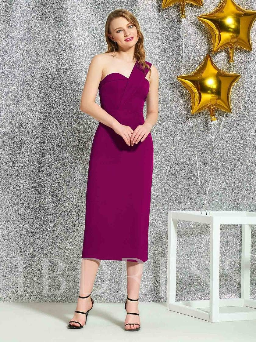 01907d11a9 Tea-Length Sleeveless One Shoulder Sheath Cocktail Dress 2019 ...