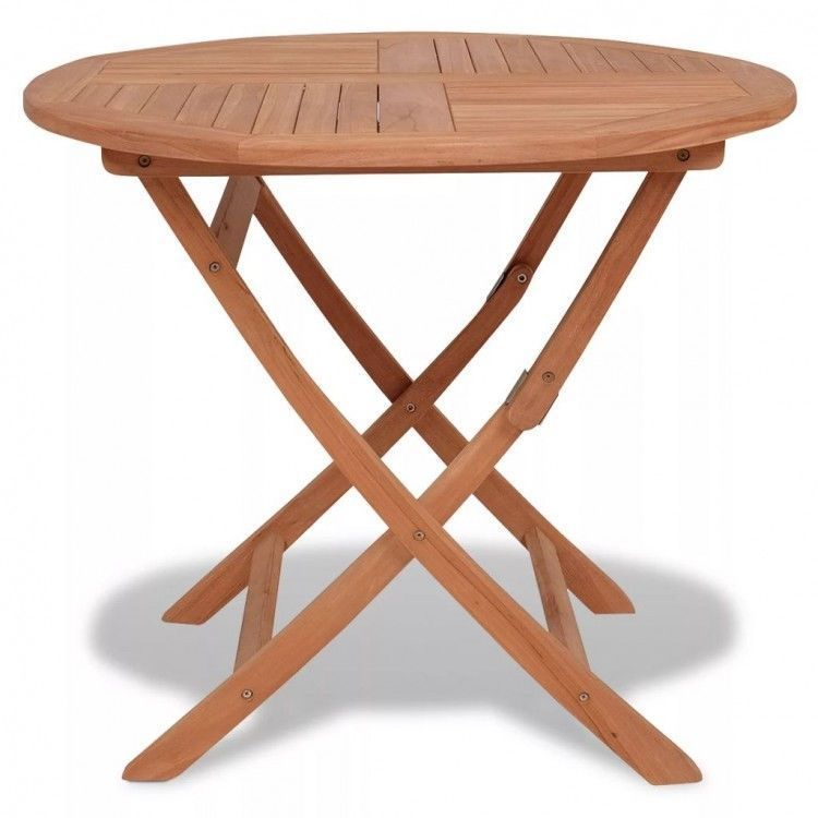 Round Wooden Garden Table Solid Teak Wood Outdoor Patio Portable - Solid teak outdoor table