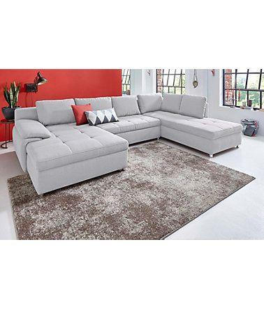 Sit\More Wohnlandschaft XXL »Labene«, wahlweise mit Bettfunktion - wohnzimmer beige silber