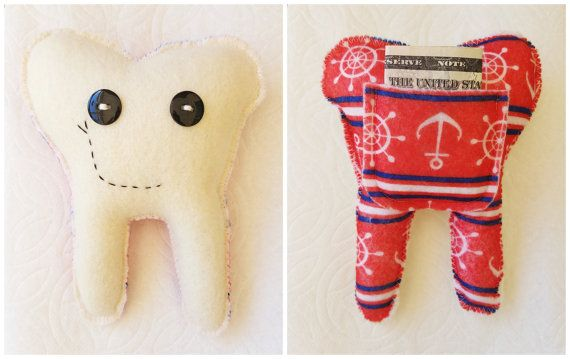Tooth fairy pillow Nautical Red White and Blue by RaisinFran