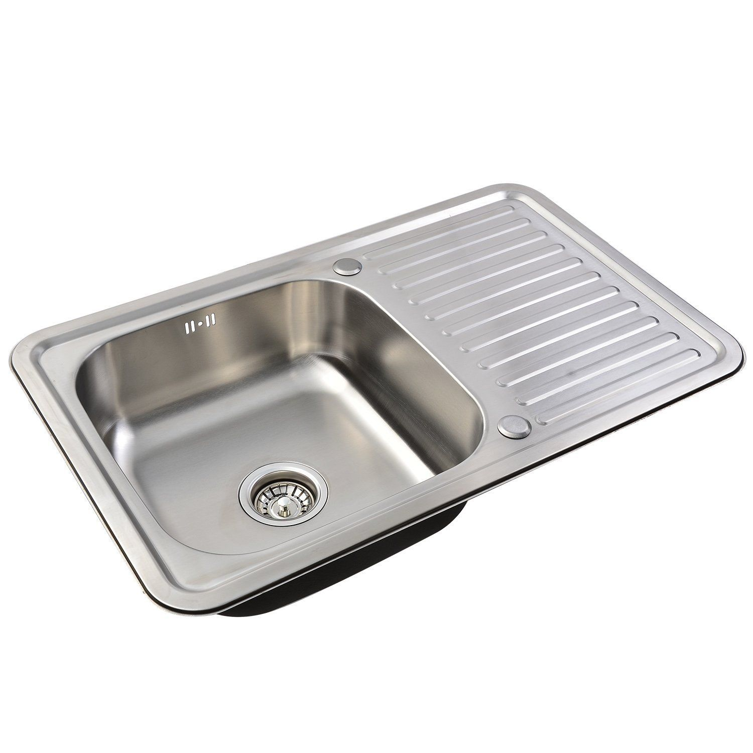 116 cm stainless steel double bowl single drainer inset sink right -  Single Bowl With Reversible Drainer Hapilife Brushed Square Stainless Steel Inset Kitchen Sinks With