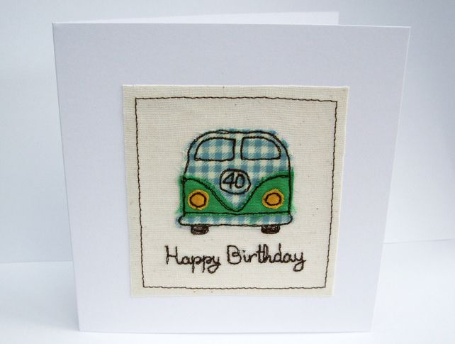 Vw Camper Birthday Card Machine Embroidered Campervan Camping