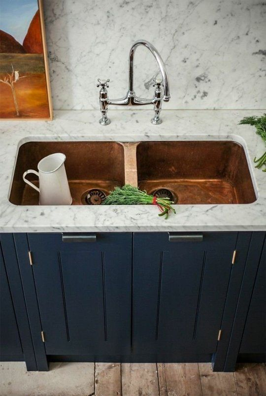 Skye Gyngell kitchen by British Standard, Carrara marble countertop and  back splash, Farrow & Ball Hague Blue Cabinets, Double Copper Sink,  Photography by ...