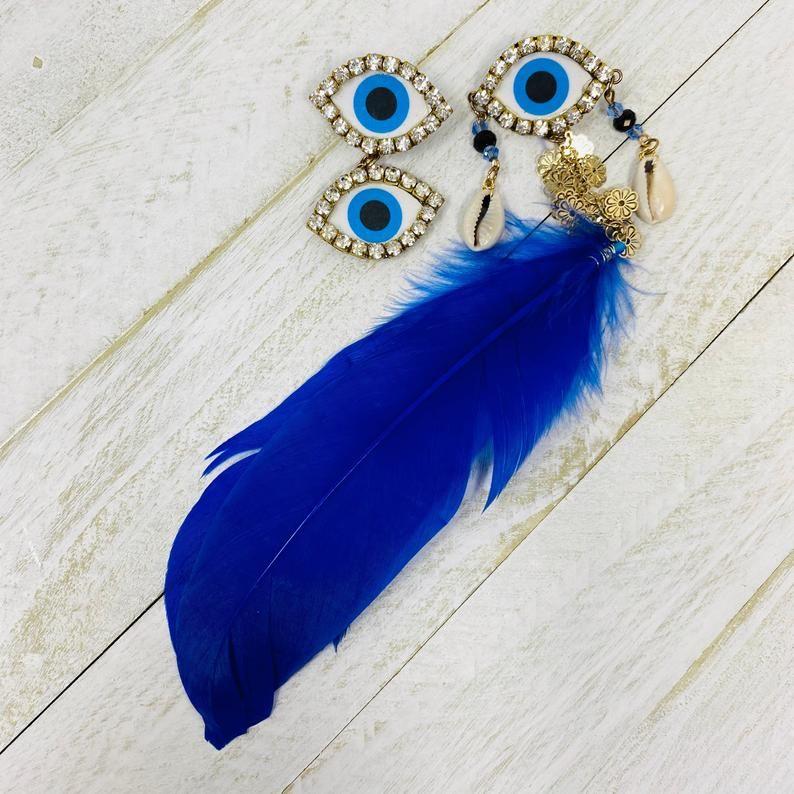 evil eye tassel feather earring