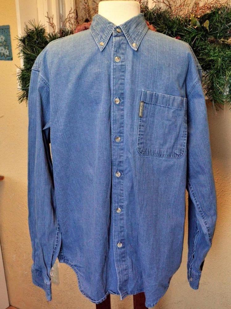 Columbia Mens L Stone Wash Denim Shirt Blue Long Sleeves Pocket 100% Cotton #Columbia #ButtonFront