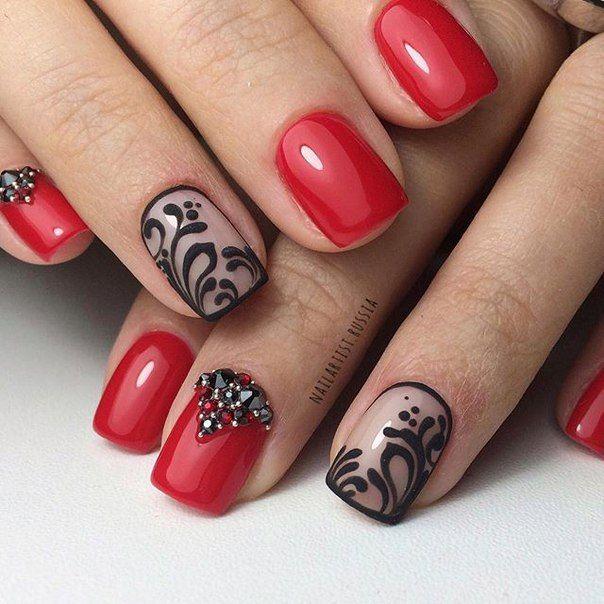 Гель лак красные ногти и кружево фото