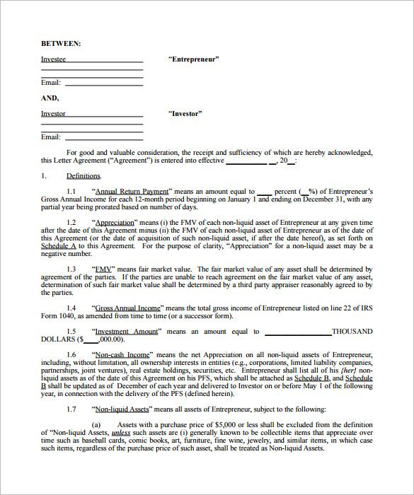 9+ Investment Contract Templates \u2013 Free Word, PDF Documents Download - Yearly Contract Template