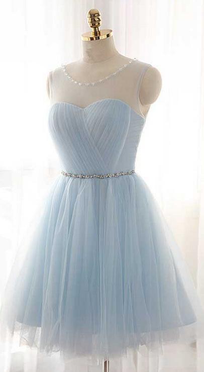 09fdf6fdfd4 Illusion Ice Blue Homecoming Dress