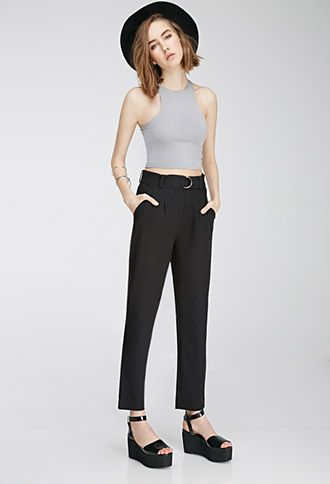 Pleated Slim-Leg Trousers | Forever 21 - 2000080237