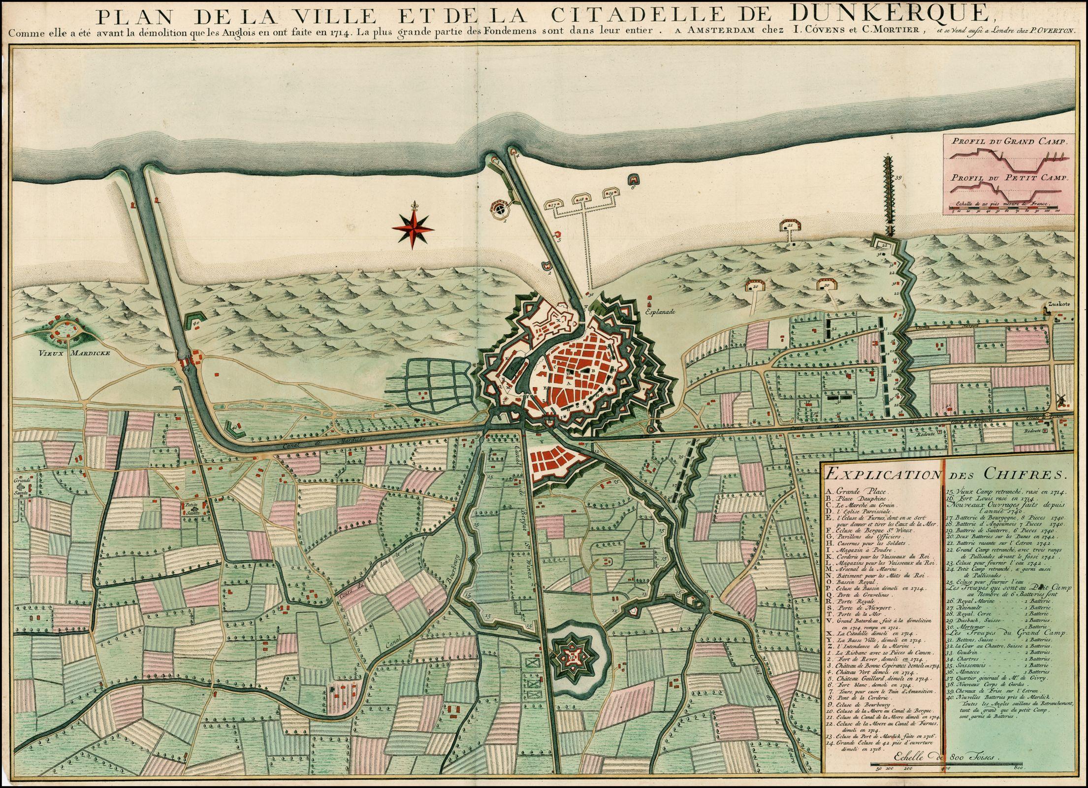 Plan De La Ville Et De La Citadelle De Dunkerque  Avant La