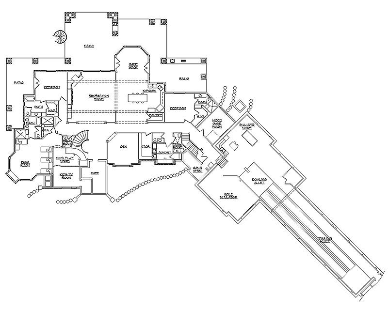 Home floor plan w two lane bowling alley mansion for House plans with bowling alley