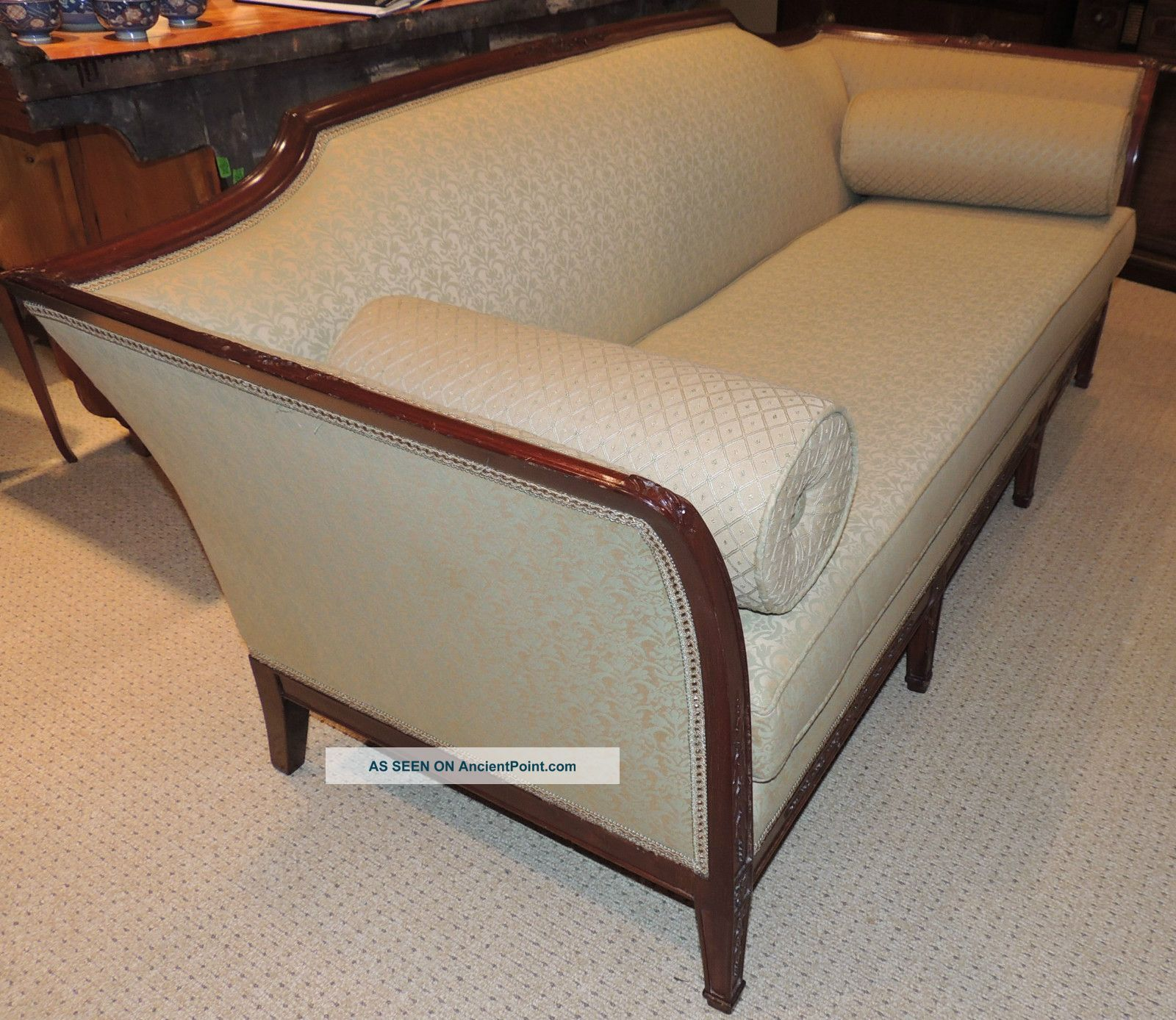 English Sofa Walnut Regency Style Wood Frame Couch Carvings Ca 1930 S 1900 1950 Photo