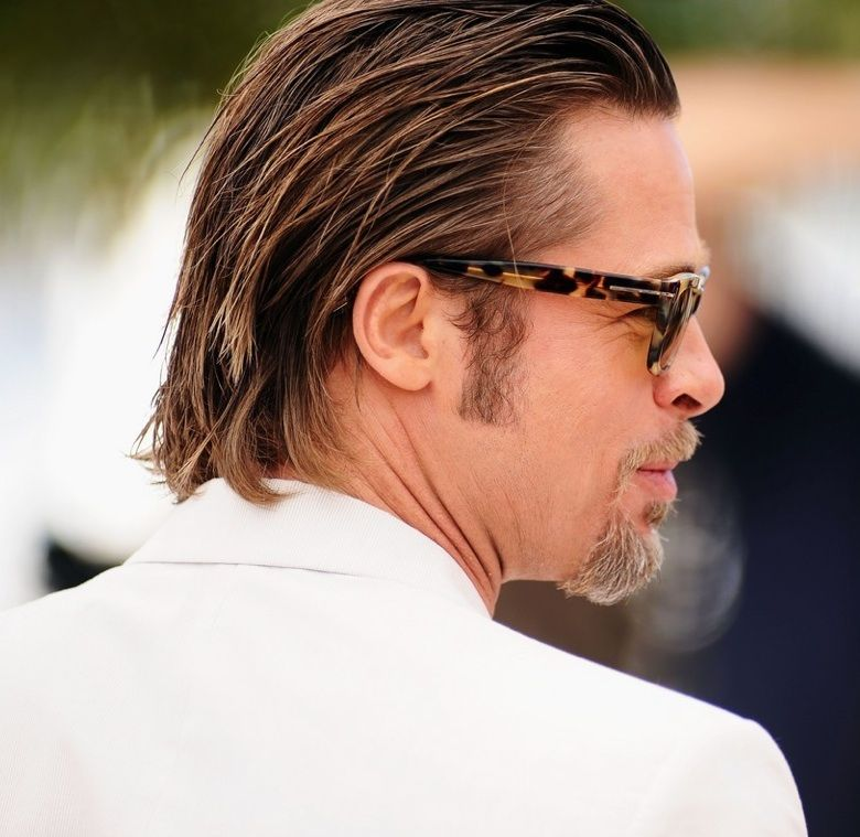 Brad Pitt With A Long Slicked Back Hairstyle At The Tree Of Life Premiere 2011 Brad Pitt Long Hair Slick Hairstyles Hair Styles