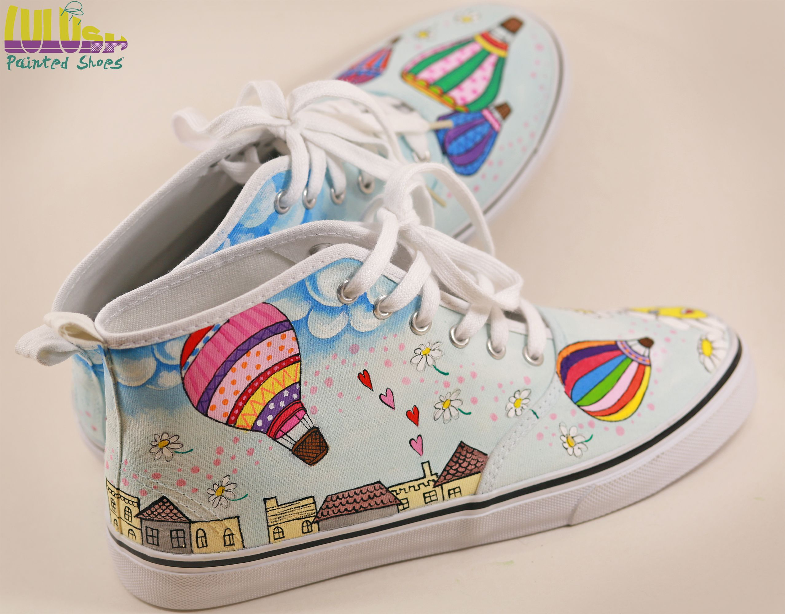 Casual Fashion Shoes for girls - Hand Painted Sneakers with hot air  balloons and daisies -