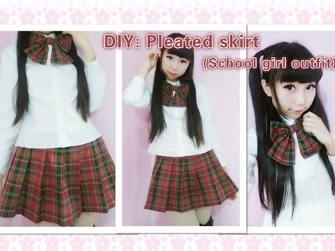 ce8c1b36b2 Easy Kawaii DIY - How to make cute school girl outfit - pleated skirt(side  pleats) fashion cosplay - YouTube