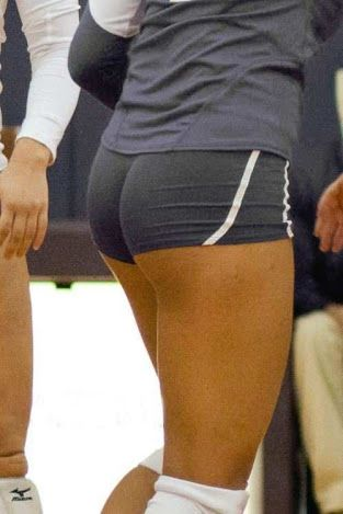 Sexy girl in spandex shorts