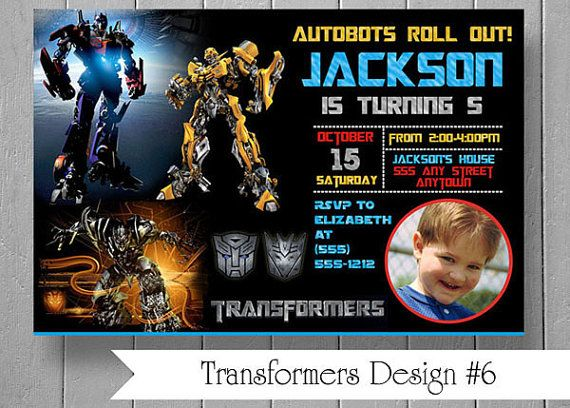 Photo Birthday Party Invitations Inspired by CarolePartyCreations – Transformer Party Invitations