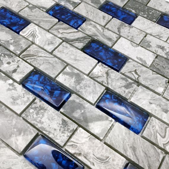 1x2 Subway Tile Backsplash In Gray
