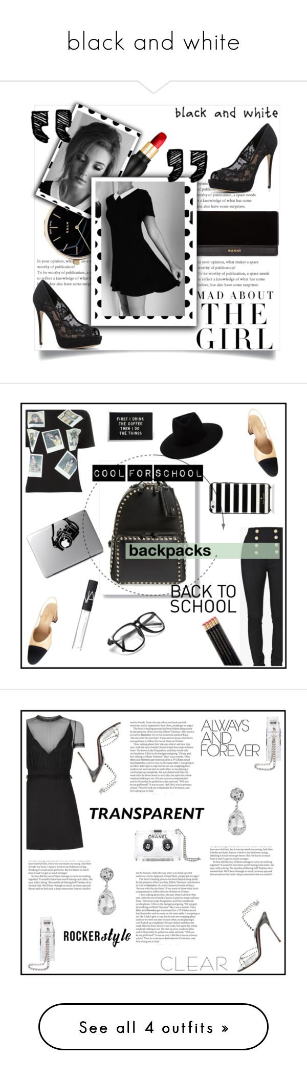 """black and white"" by fashion12girl on Polyvore featuring moda, Myku, Christian Louboutin, Balmain, Kershaw, ALDO, Olympia Le-Tan, Chanel, Valentino y rag & bone"