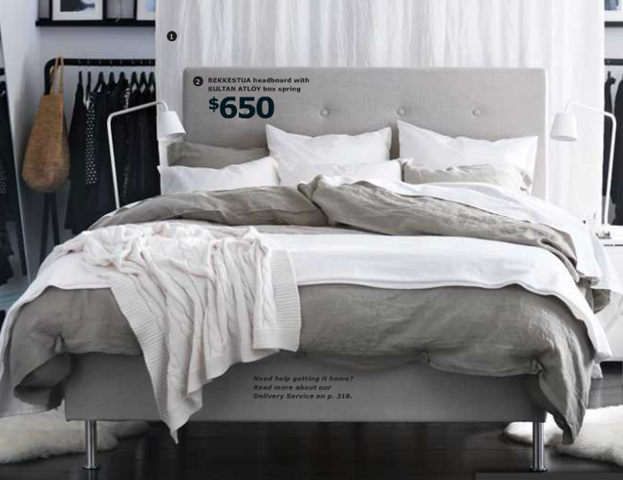 http://www.ikea.com/us/en/catalog/products/50207041/ Bekkestua headboard ($250) and Sultan Atloy box spring ($400) pictured with linblooma bedding