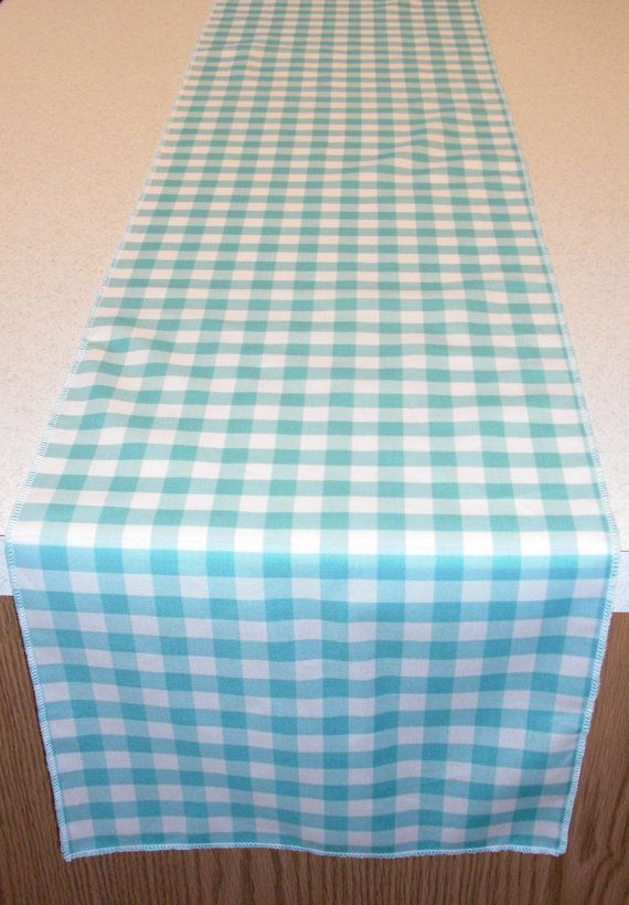 Tiffany Blue Gingham Check Table Runner