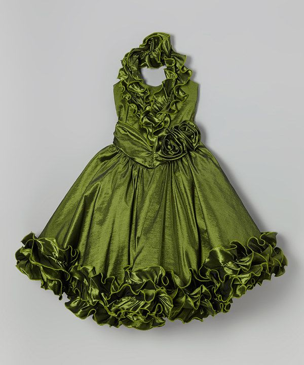 Love this Olive Rosette Ruffle Halter Dress - Toddler & Girls by Bijan Kids on #zulily! #zulilyfinds