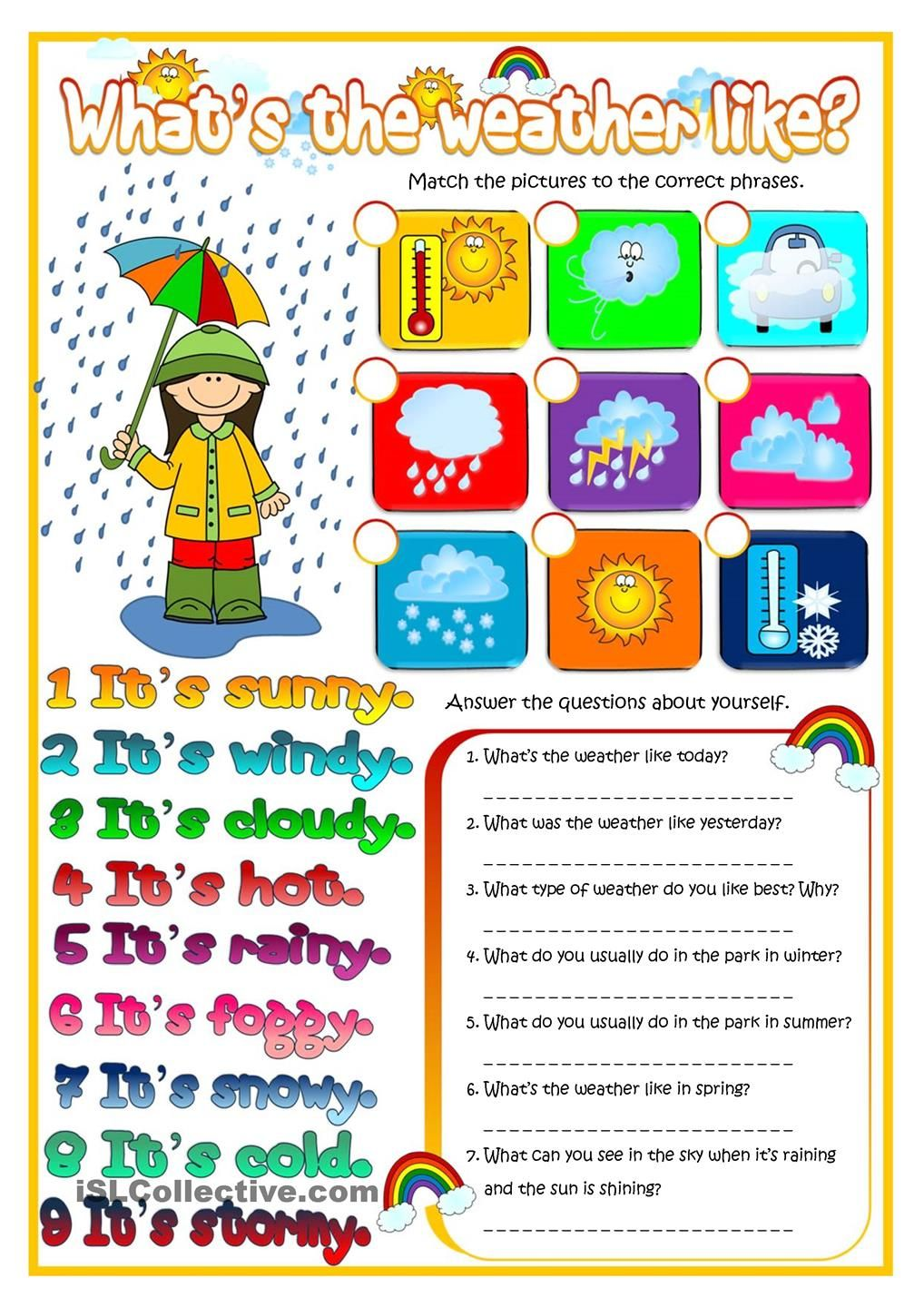 Whats the weather like english for children pinterest a worksheet to practise weather vocabulary robcynllc Images