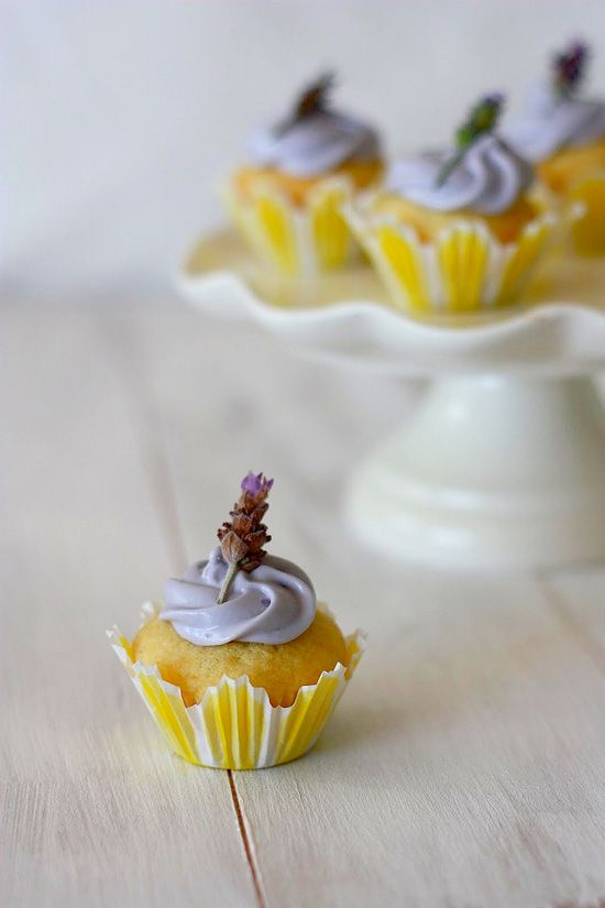 Lemon Filled Lavender Cupcakes. Lavender is frequently used in cooking in Provence and pairs perfectly with lemon #cupcake #recipe