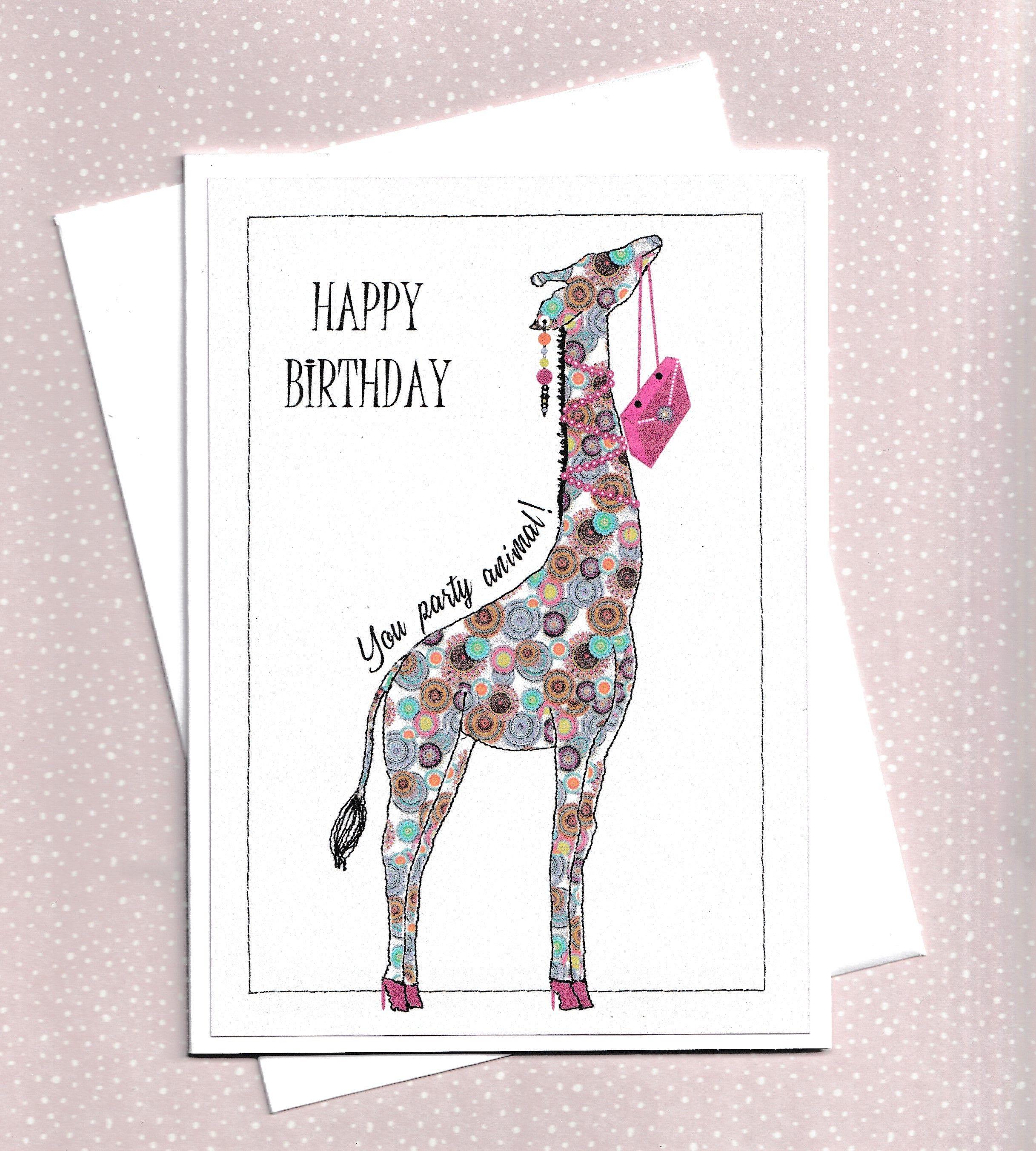 Giraffe Happy Birthday Card For Her Bestie Giraffes Etsy Birthday Cards For Her Giraffe Happy Birthday Birthday Cards