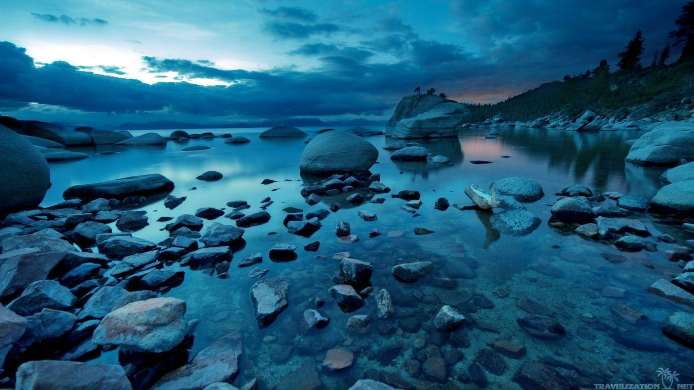 dark nature wallpaper dark blue sunset rocks river