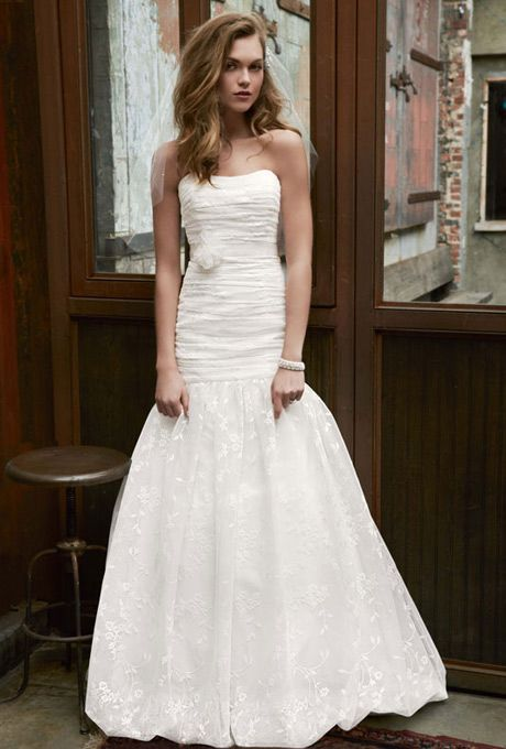 David's Bridal... Lace fit-and-flare gown with bubble hem