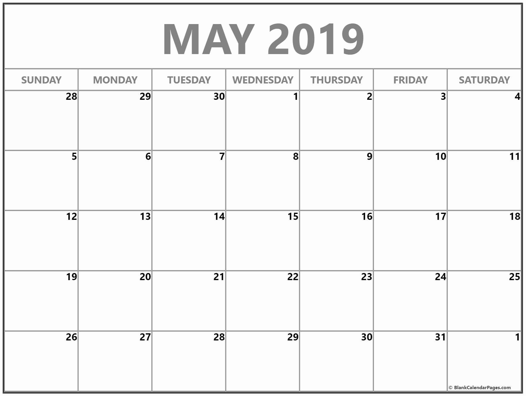 40 Blank Calendar Template 2019 In 2020 Calendar Printables