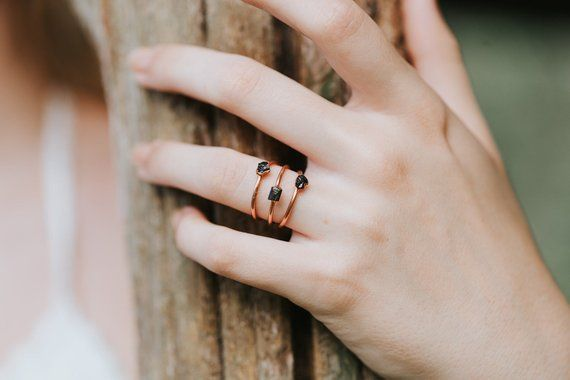 Dainty Raw Black Tourmaline Ring Delicate Ring Raw Stone Ring Raw Crystal Ring Raw Gemstone Ring Raw Gem Jewelry Gift For Her Black Tourmaline Ring Tourmaline Ring Pink Tourmaline Ring