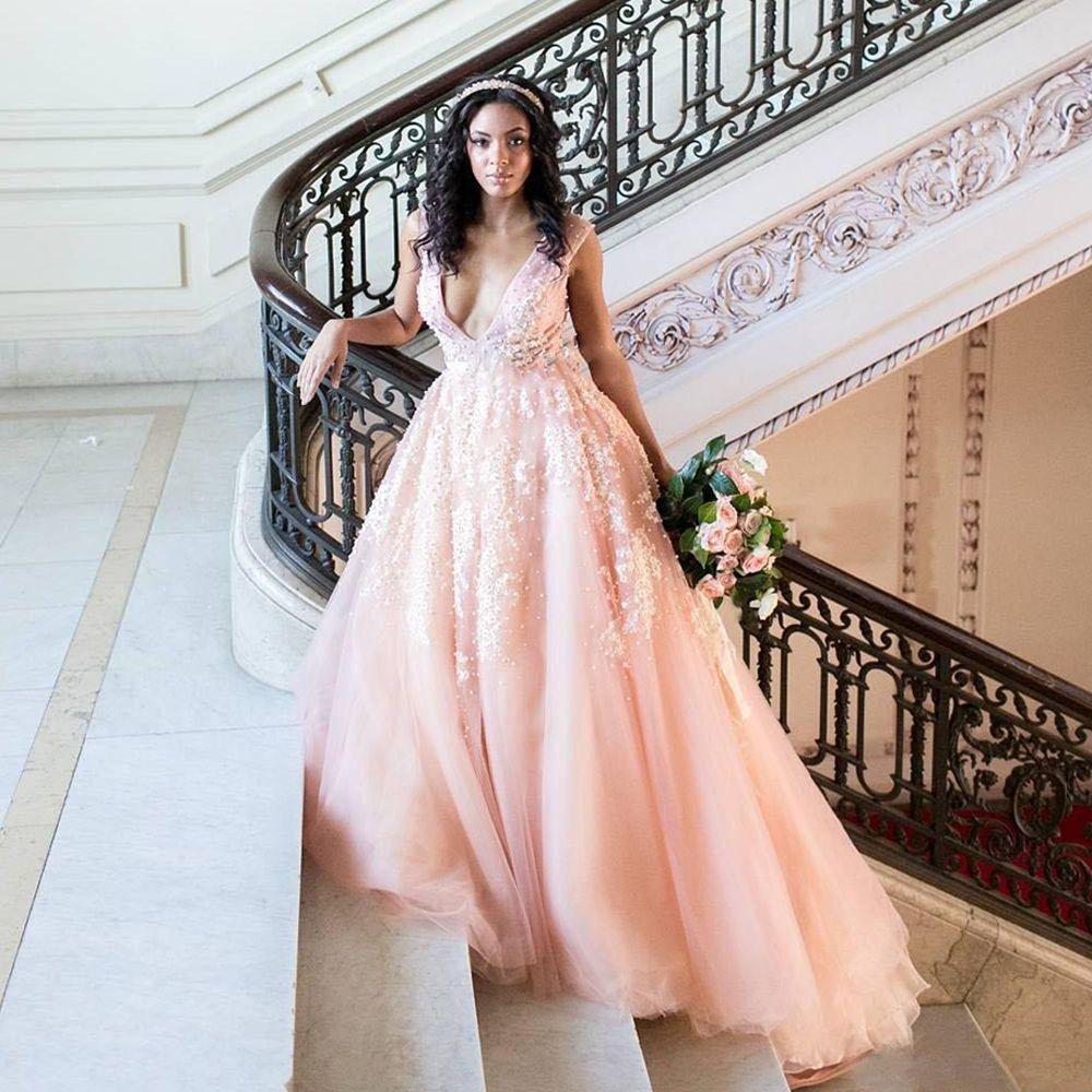 Blush pink wedding dresseswhite lace appliques wedding