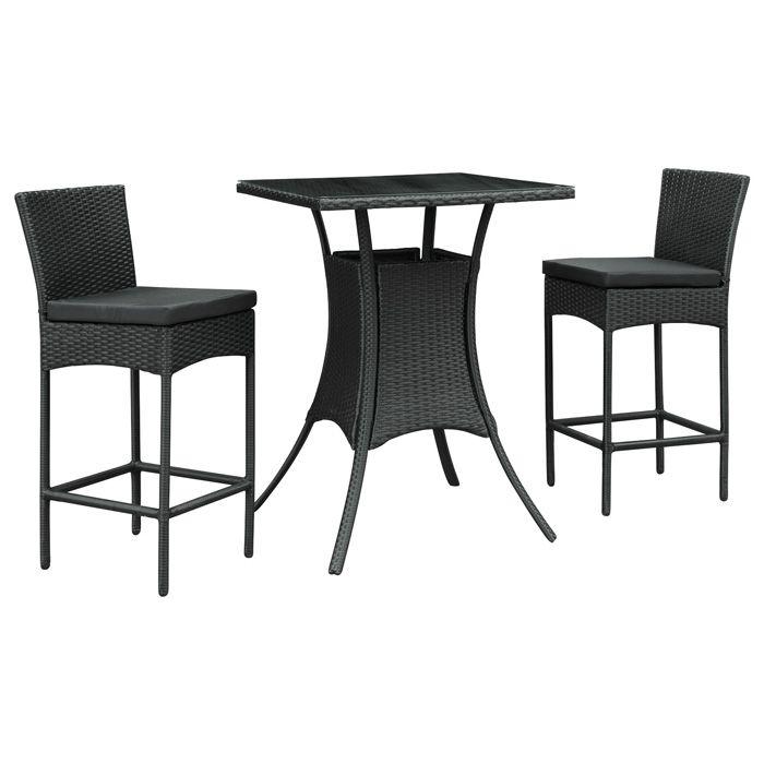 ♥ ♥ Cerveza 3 Piece Wicker Pub Set - Black Frame, Cushions ♥ ♥ - Discovered at www.dcgstores.com...