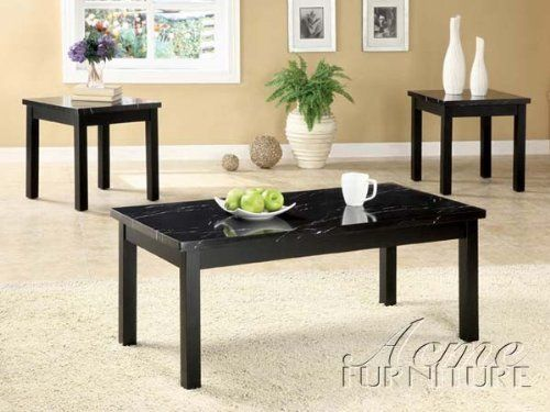 3pc Coffee Table And End Tables Set With Faux Marble Top In Black