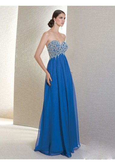 A-line Sweetheart Chiffon Blue Long Prom Dresses/Evening Dress With Beading