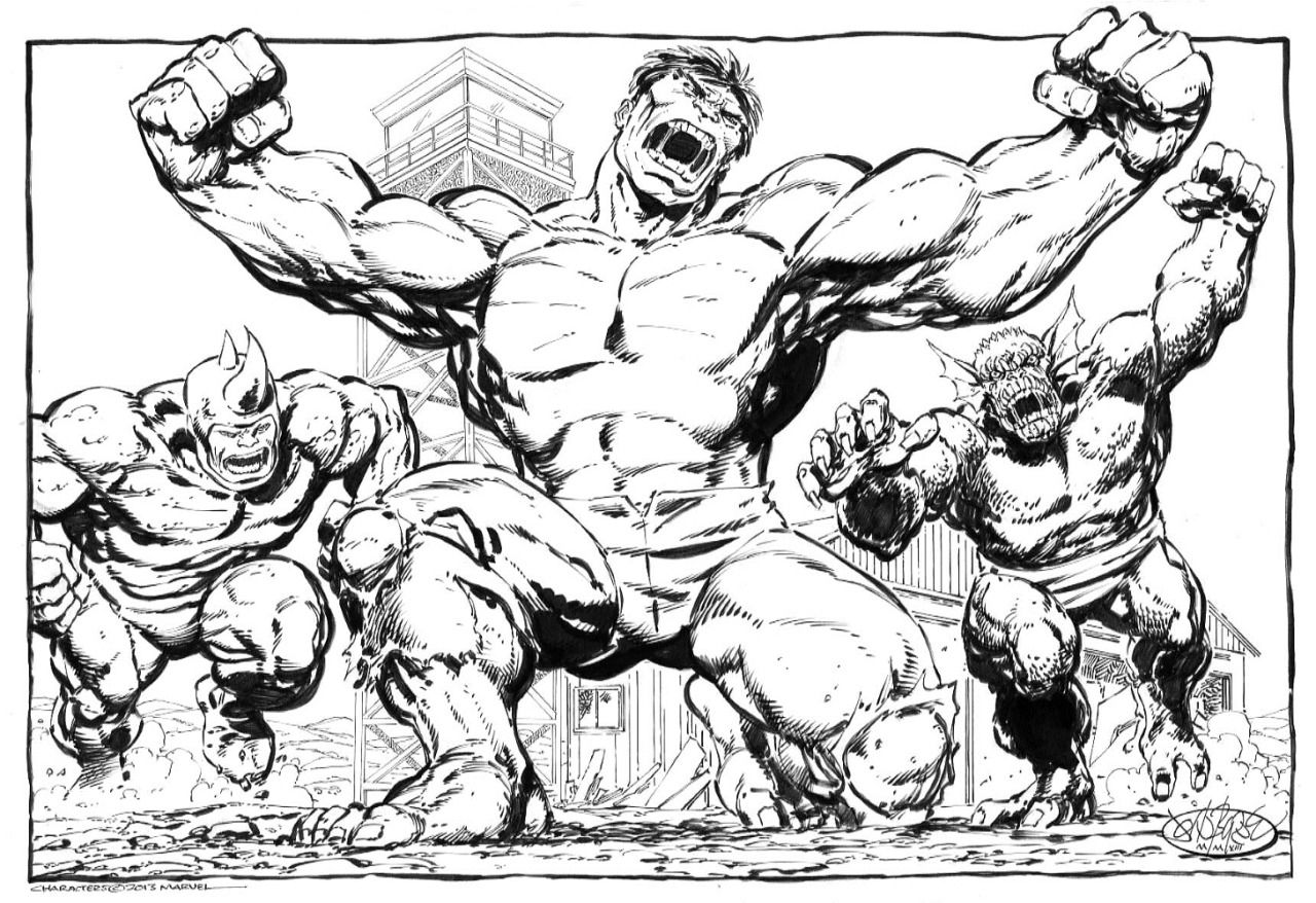 John Byrne Draws Hulk Vs Rhino Abomination Commission By John Comic Art Fans Comic Books Art Comic Book Artwork