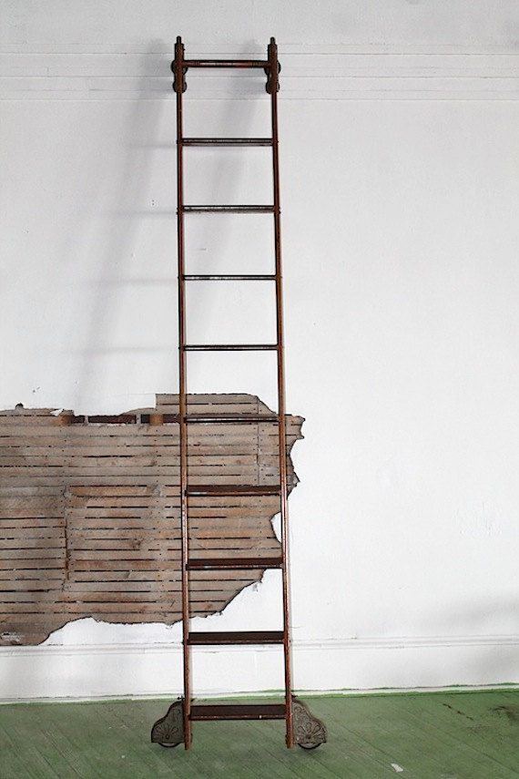 1900s Putnam Rolling Ladder Co Inc Antique Oak Library Ladder 10 Ft Tall Rolling Ladder Rustic Living Room Ladder