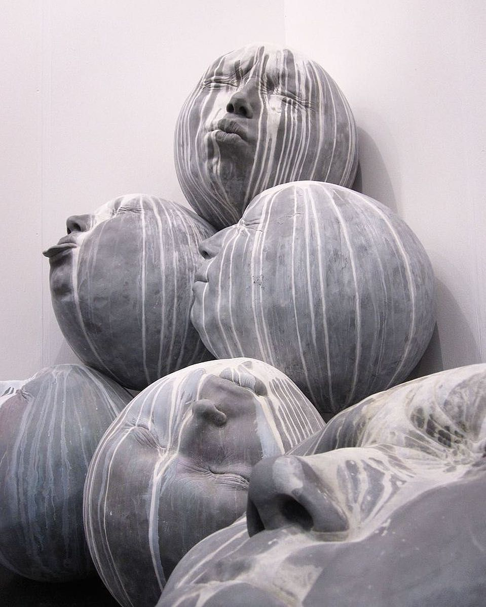 "Rain"" - Polyester Resin sculpture with aluminum powder by Samuel ... for Polyester Resin Sculpture  173lyp"