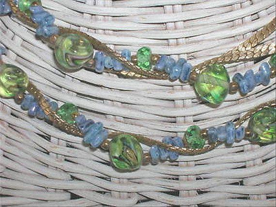Vintage Hattie Carnegie Blue Green Swirl Art Glass Bead Necklace