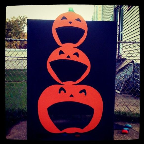 I was in charge of the Kindergarten Halloween Party this year. I created these 2 interactive games for them to play (with a little help from my hubby) – Ghost Bowling and a Pumpkin Bean Bag …