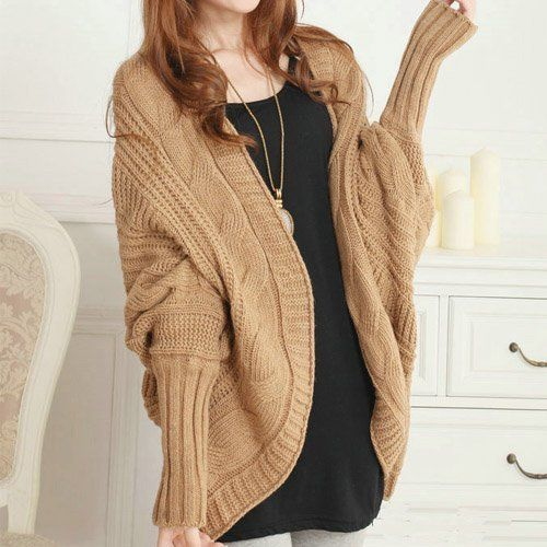 Womens Girls Bat Wing Thick Loose Sweater Wool Knit Shawl Cardigan Coat Outwear (Khaki) by JACENTOWN, http://www.amazon.com/dp/B00EUXEMA2/ref=cm_sw_r_pi_dp_z7irsb1BF3VXV
