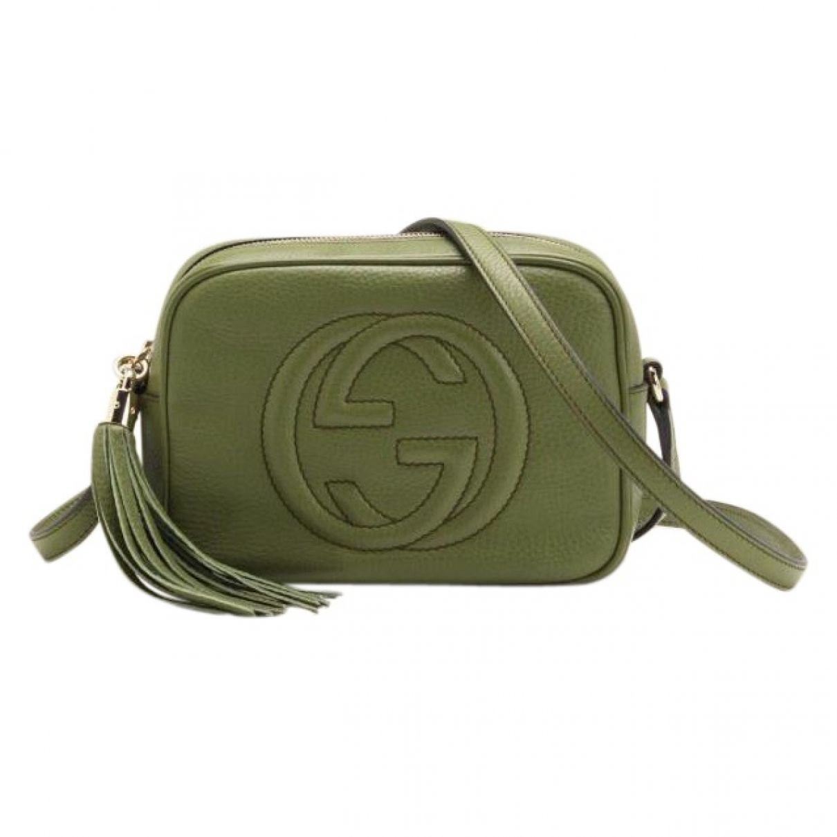 eb950f1d9ffe Gucci Green Leather Handbag Soho   Vestiaire Collective   THE FINER ...