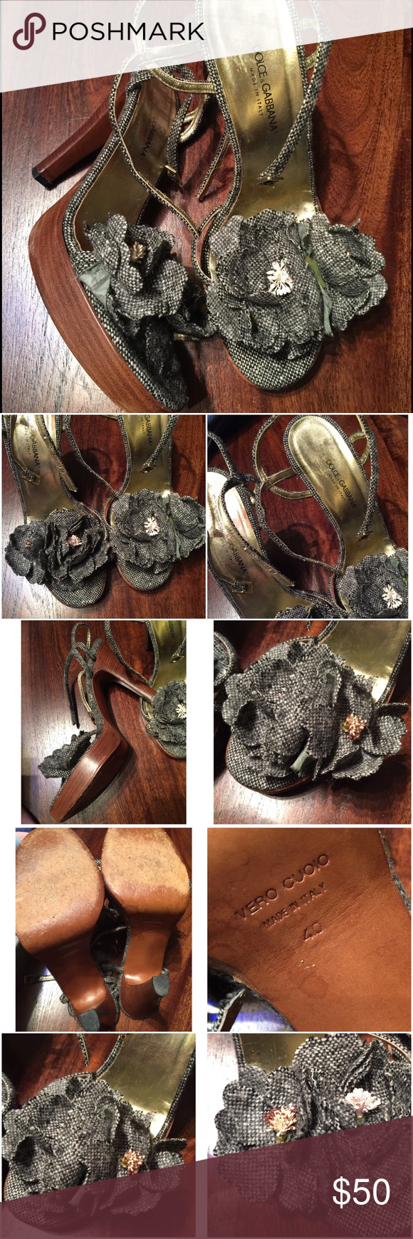"Dolce and Gabbana jeans heeled shoes sandals Dolce and Gabbana sandals heeled flowers , 5"" heel with 1 "" platform . Worn a few times. Good condition. Mark size 40, fits like 9-9.5. Dolce & Gabbana Shoes Heels"