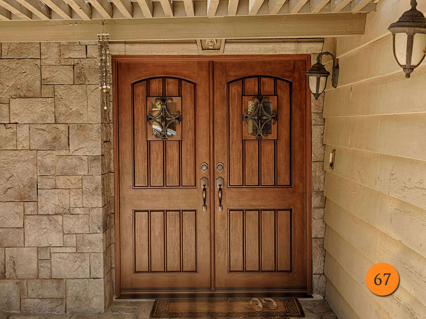 Jeld Wen X Estate Collection Double Entry Doors Rustic Style Fiberglass Arch Top Model With Seville Speakeasy Copper Creek Heritage Hardware In Tuscon