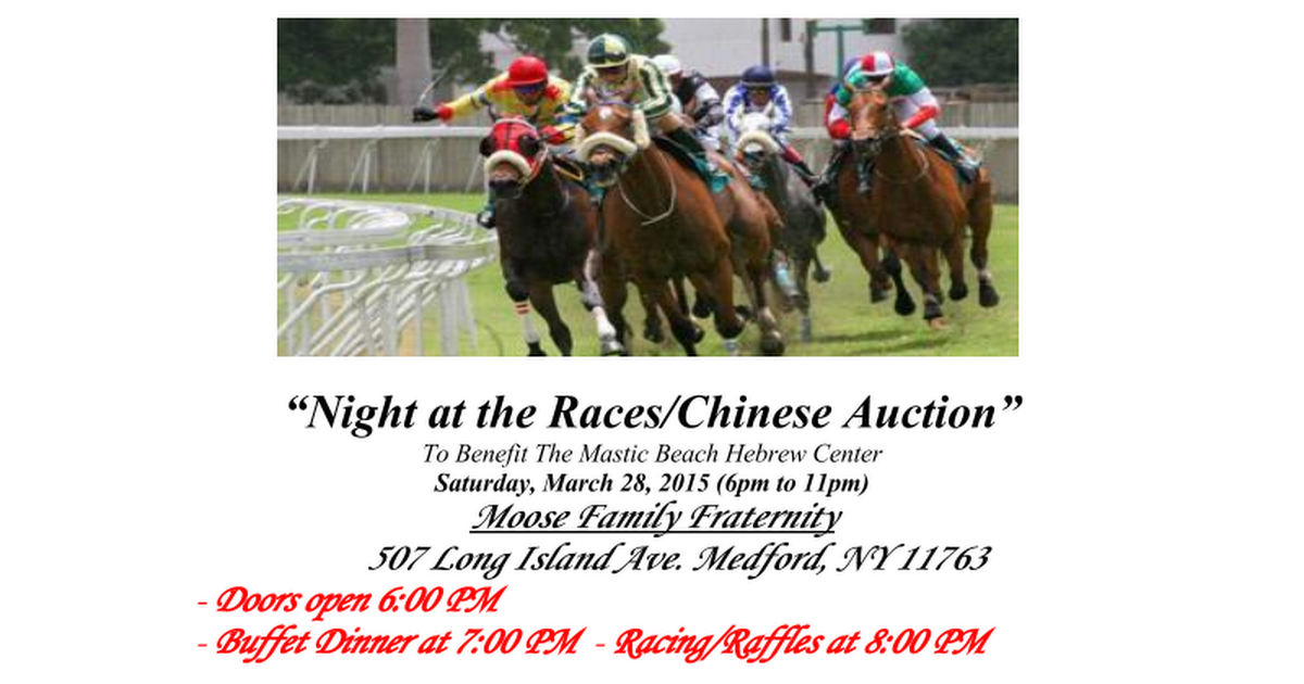 Awe Inspiring Night At The Races Chinese Auction To Benefit The Mastic Home Remodeling Inspirations Gresiscottssportslandcom