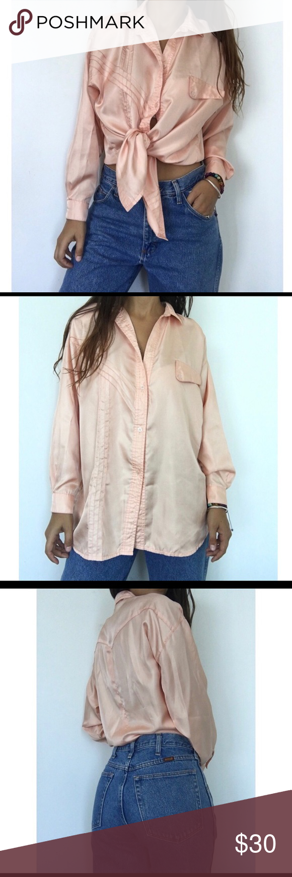 ba74d2eaa7ecd •VINTAGE BLUSH SATIN SILK BLOUSE• Adorable blush powder pink vintage blouse  by Hamvre fashion. Has a satin silk look to it. Chic and could be tied in a  knot ...