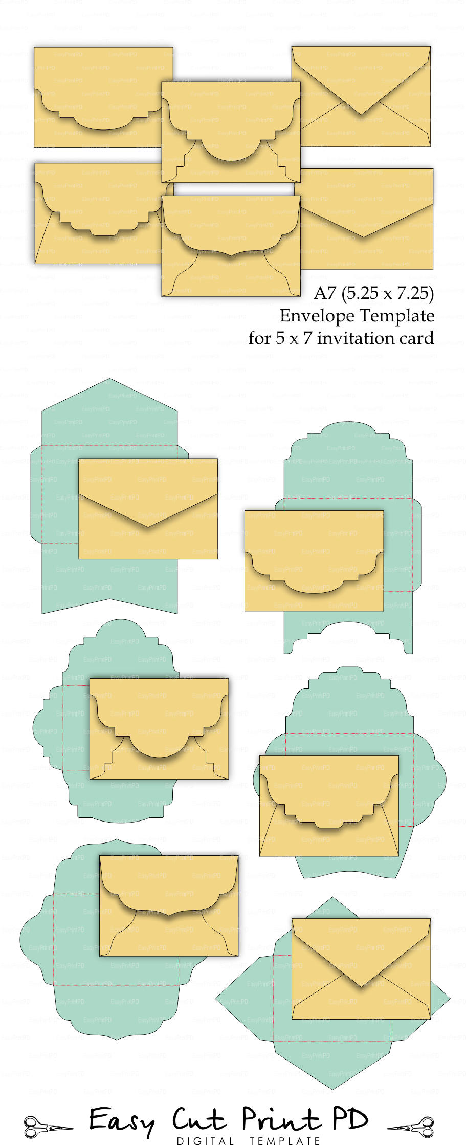 Set Of 6 A7 5 25 X 7 25 Envelope Template For 5x7 Etsy Envelope Template Envelope Template Printable Diy Envelope Template