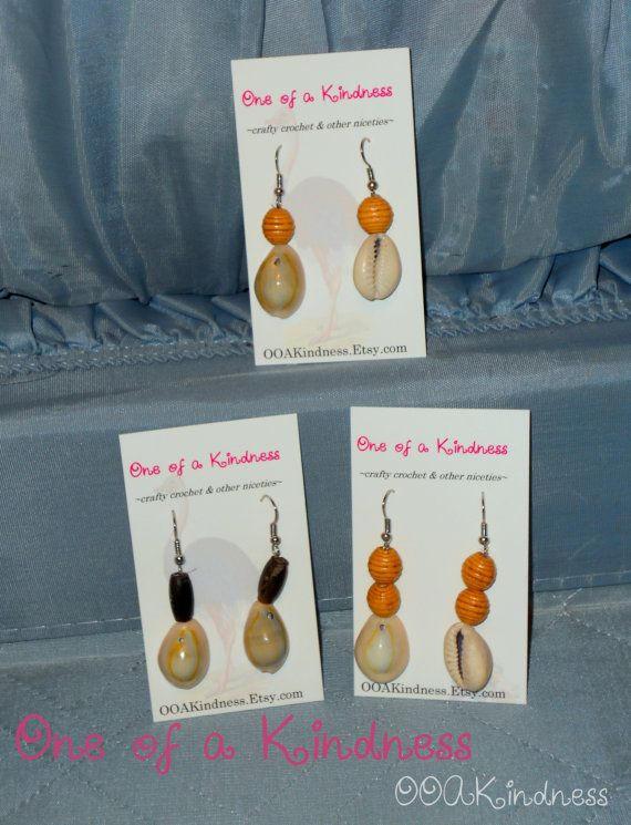 Cowrie Shell & wood bead earrings  cowrie shell by OOAKindness, $3.00